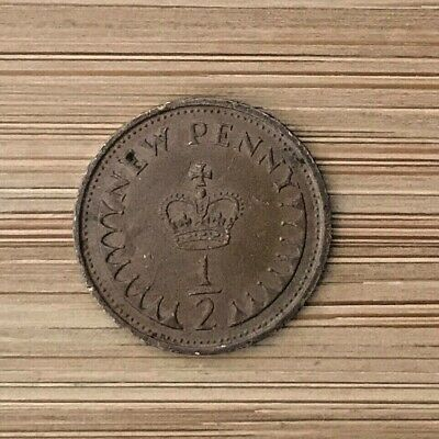 1/2 New Penny Coin 1979 United Kingdom Circulated Uncleaned British Half Penny