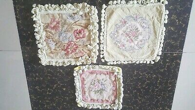 3 Antique 19th centur Aubusson French hand woven Needles point Cushions
