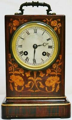 Antique French Empire Marquetry Inlaid 8 Day Bell Striking Officers Mantel Clock