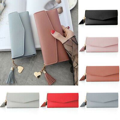 Women Lady Leather Clutch Wallet Tassel Long Card Holder Coin Case Purse Handbag