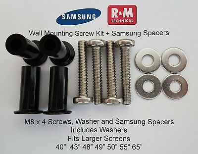M8 Wall Mount Screws Kit + spacers Samsung K,M,N & RU Series TV +low EU Shipping