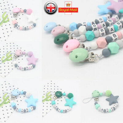 Dummy Clips Teething Baby Teether Chain Clip Silicone Beads Pacifier Holders UK