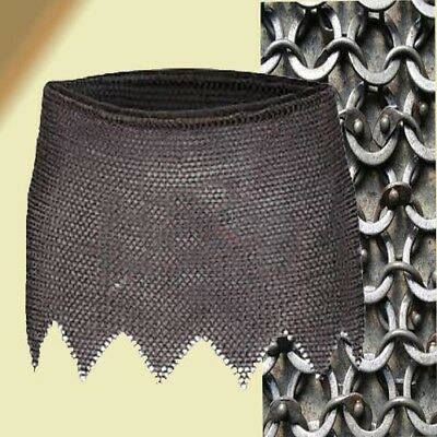HALLOWEEN  Chain mail Skirt 6 mm Round Riveted Washer Medieval Knight Black