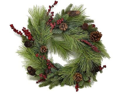 Artificial Berry & Natural Pine Cone Wreath - Icy Sparkle x 50cm - Christmas