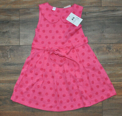NEXT Girls Dress With Belt 2-3 Years 100% Cotton Pink Summer Holiday BNWT