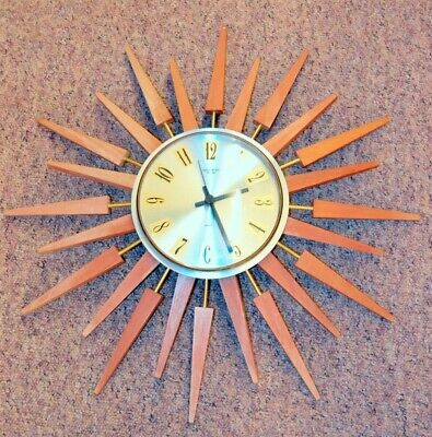 Vintage Highly Collectable Anstey Wilson Sunburst Large Clock ##WOLg5