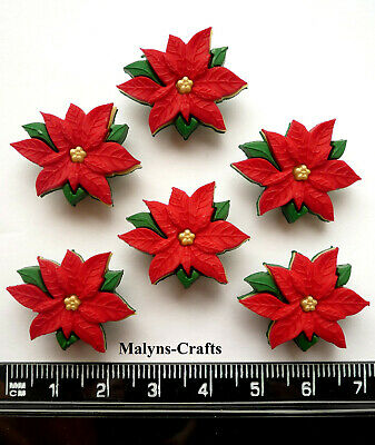 RED POINSETTIAS Christmas Craft Buttons Flower Novelty Winter Plant Dress It Up