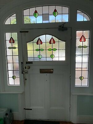 Original lead Edwardian Stained Glass Door And Window Panels/Pane
