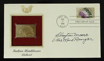 Clayton Moore Signed Autographed First Day Cover Lone Ranger Indian Headdresses