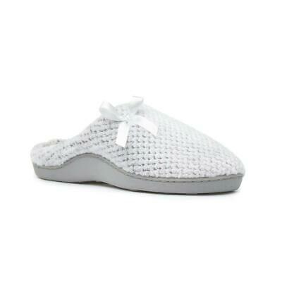 Womens Grey White Slippers Comfy Warm Mule Indoor Slipper The Slipper Company