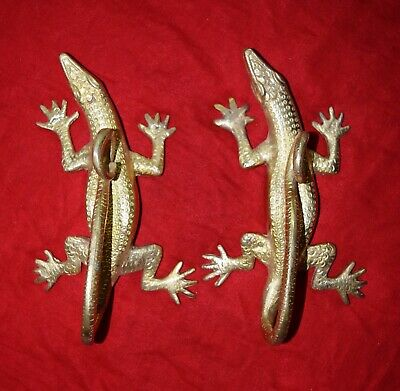 Cambodian Dragon Shaped Pair Door Handle Solid Brass Handmade Golden Finish RV66