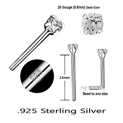 1pc en Forme de L Lot Broches Transparent Zircone 22GA .925 Argent Sterling Nez