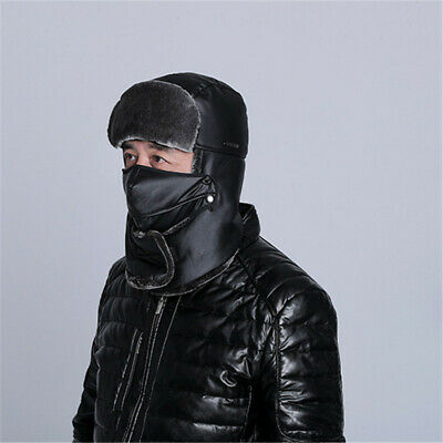 Thick Beanie Hat PU Leather Velvet Winter Warmers Scarf Masks Cap for Men Warmth