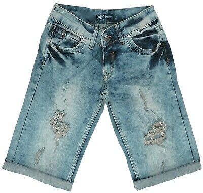 Girls Womens 6-12 New Distressed Dirty Wash Denim Knee Length Shorts Jean Bnwt