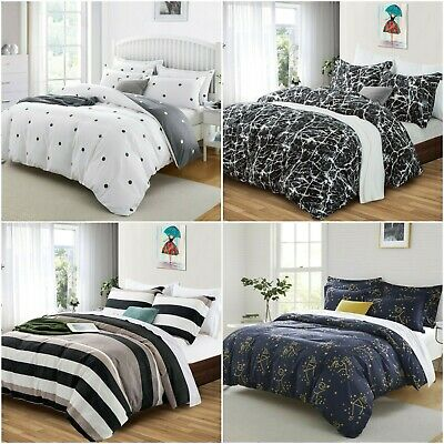 3D Duvet Cover Bedding Set With Fitted Sheet & Pillowcases Double King Size