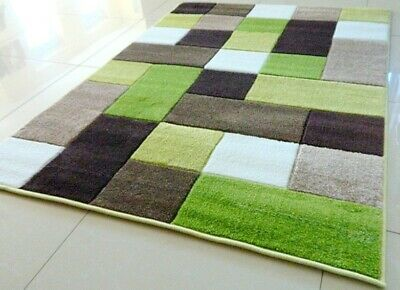 Clearance Green Brown Hand Carved Soft Heavy Extra Large Area Rug Mat Sale