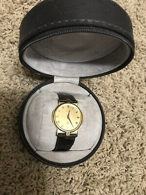 Vintage Genuine Men's GUCCI Gold Plated Wristwatch Brown Leather (WITH CASE)