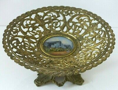 RARE Antique mid 19th Century Grand Tour Eglomise / Gilded Tazza –Crystal Palace