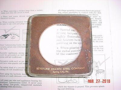 Keystone Drawn Steel Advertising Domed Dome Glass Magnifier Reader Paperweight