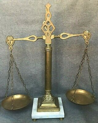 Big antique french decorative scale 1930'-40s Empire style brass on marble