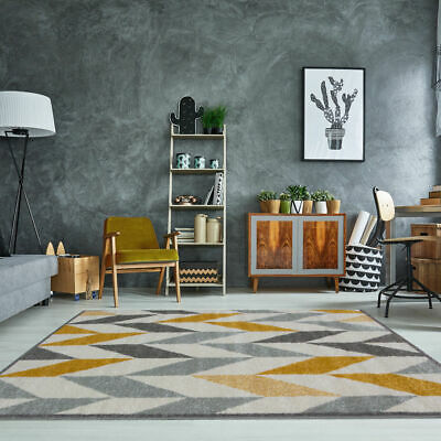 Mustard Yellow & Grey Geometric Cheap Rugs Affordable Small Large Carpet Mats