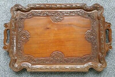 Beautiful Handcarved Wooden Serving Tray 23""