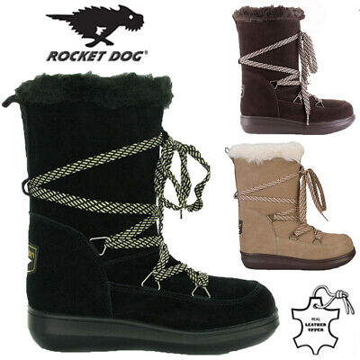 Rocket Dog Ladies Leather Fur Lined Winter Snow Warm Walking Hiking Boots Size