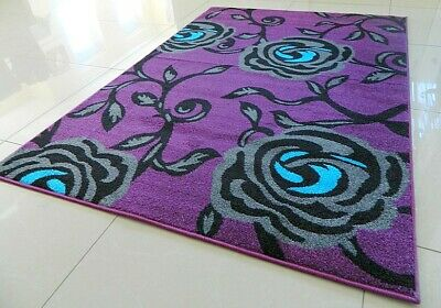 **Clearance** Purple Silver Grey Soft Extra Large Modern Area Rug Mat Sale
