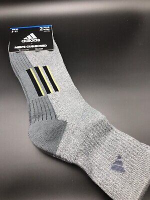 Men's Adidas Climalite Traxion Mid Crew Socks Gray 2-Pack