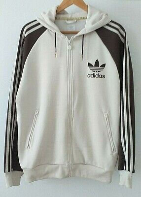 Vintage ADIDAS Zipped Hooded Top Cream / Brown Retro Size L