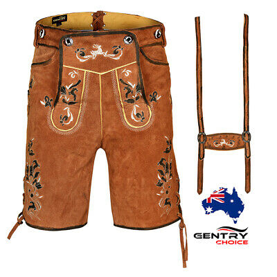 Authentic Leather Lederhosen with Belt Suspenders Men Oktoberfest Costume