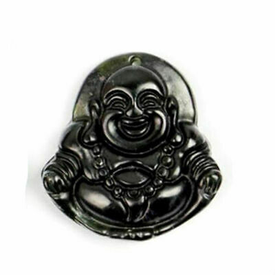 Chinese Natural Black Green Jade Carved  Guan Yin Laughing Buddha Lucky Pendant