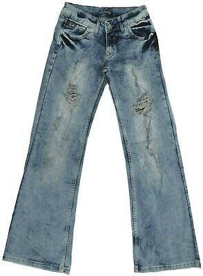 "Girls Womens 6-12 New Distressed Dirty Blue Wash Denim Jeans 31"" 32"" Leg Bnwt"