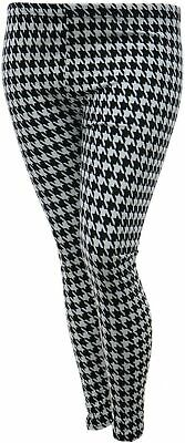 Brand New Houndstooth Dogtooth Black & White Stretch Leggings Girls Womens Plus