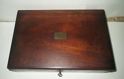Antique Victorian WRITING DOCUMENT DESK - PLUS GOLD FOUNTAIN PEN & INK WELL