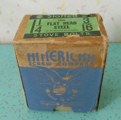 Vintage Box Of American Screw Company Slotted Flat Head Steel Stove Bolts