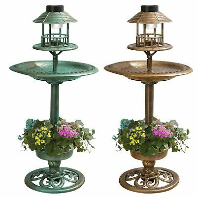 Copper Bronze Effect Bird Bath With Solar Light & Feeding Table With Flower Bowl