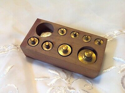 Vintage 1 to 50 gram Brass Calibration Apothecary Scale Weight Set W/Wood Box