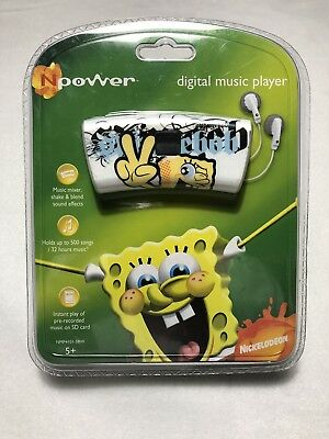 New N power Digital Music Player Spongebob Squarepants MP3 WMA Playback 1GB Rare