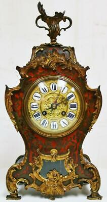 Untouched Antique French 8 Day Red Shell & Bronze Striking Boulle Mantel Clock