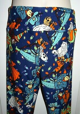 LuLaRoe Leggings Kids Pants Halloween Blue Ghosts Witches Cowboys New Sz Tween