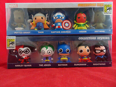 Sdcc 2015 Dc Comics And Marvel Collector Keyrings Monogram, Thor, Groot,Superman