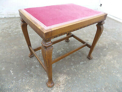 antique,victorian,cabriole legs,stool,inlaid,piano,pad feet,fabric seat,dressing