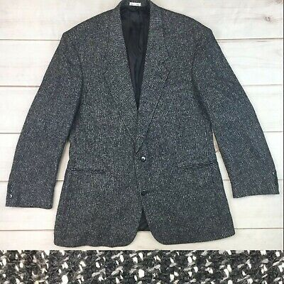 Zeidler Paul Rodon Men's 44 Black 100% Silk Tweed 2 button Vintage Blazer Jacket