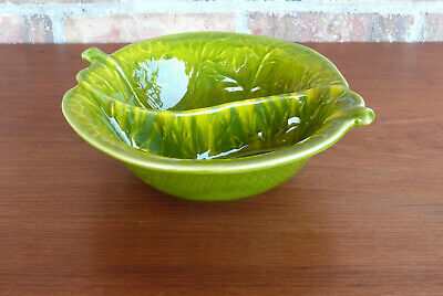 California Pottery USA #725 Retro Green Leaf Divided Serving Dish Nut Candy Bowl