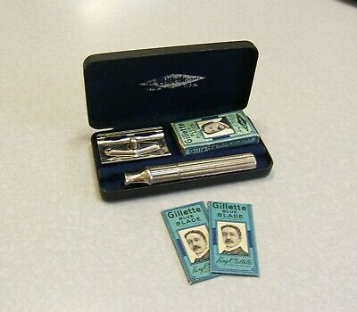 Vintage Gillette HEAVY Pre-War TECH DE Safety Razor Set