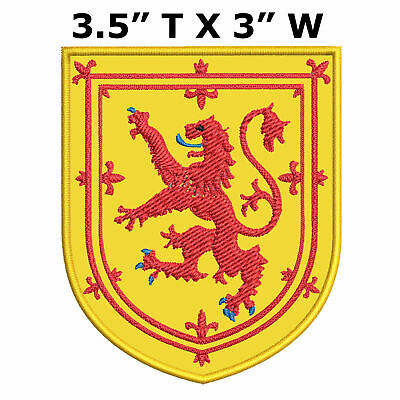 "Scotland Medieval Coat of Arms 3.5"" Embroidered Iron or Sew-on Patch"