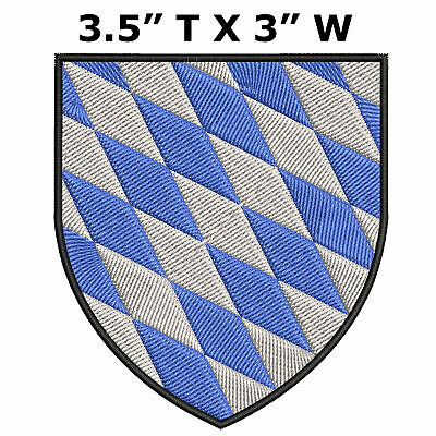 "Bavaria Medieval Coat of Arms 3.5"" Embroidered Iron or Sew-on Patch"