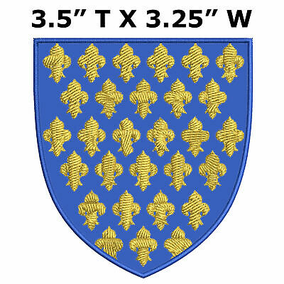 Arms of France Medieval Coat of Arms Embroidered Patch Iron / Sew-on Applique