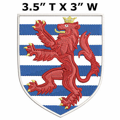 "Luxembourg Medieval Coat of Arms 3.5"" Embroidered Iron or Sew-on Patch"